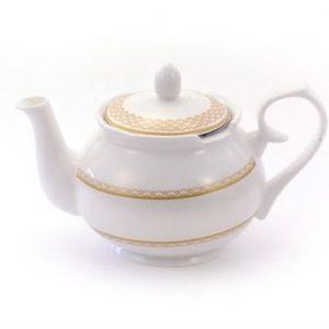 Théière Mable porcelaine blanche et dorée boutique Histoires de thés à Cosne-sur-Loire 58200